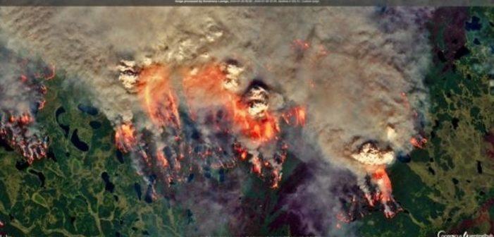 Heatwave fuels Arctic wildfires and sea ice retreat