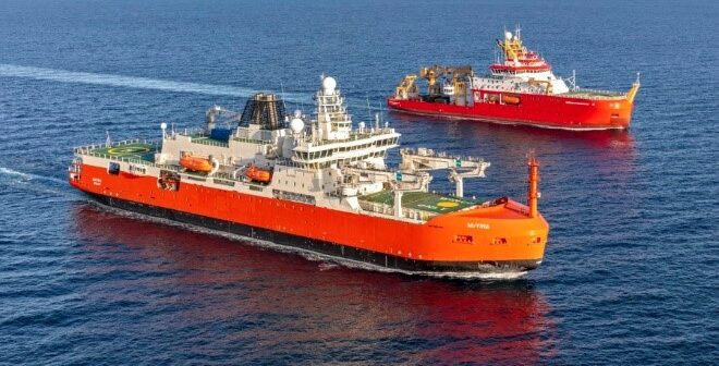 UK and Australian new polar research ships rendezvous on sea trials